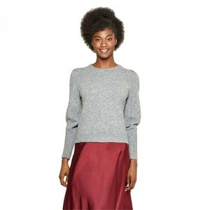 NWT A New Day Pleat Sleeve Sweater XS Gray